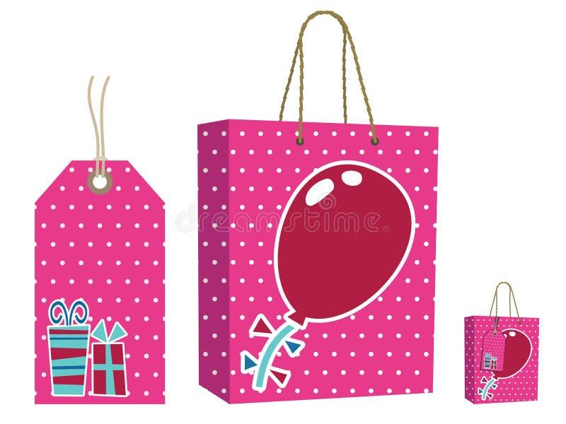 Rosafarbenes Beutel- und Markenset stock abbildung