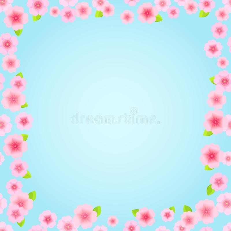 Rosafarbenes Blumenfeld Sakura stock abbildung