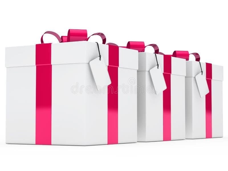 Rosafarbenes Farbband der Geschenkkästen lizenzfreie abbildung