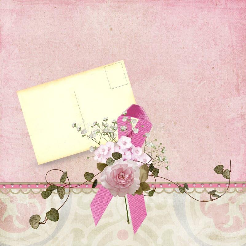 Rosafarbenes Farbband mit Weinlesepostkarte lizenzfreie abbildung