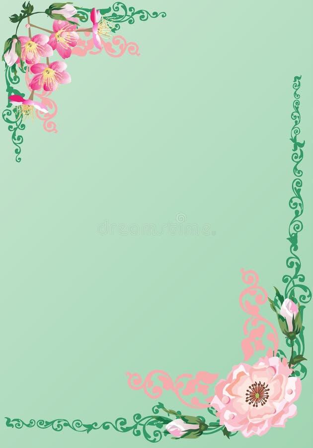 Rosafarbenes Feld des Rosas auf Grün vektor abbildung