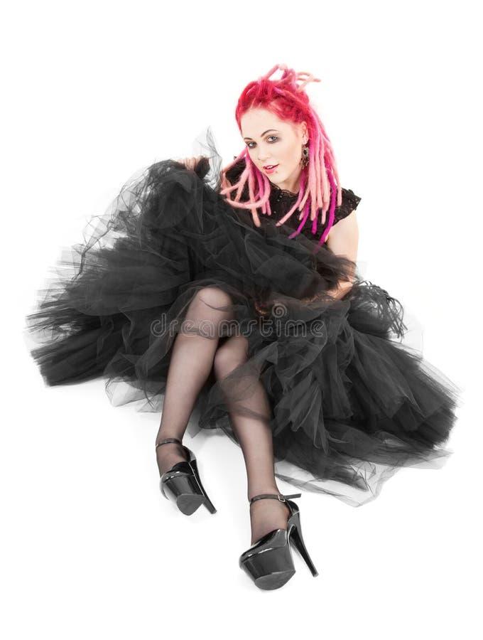 Rosafarbenes Haarmädchen lizenzfreie stockfotos