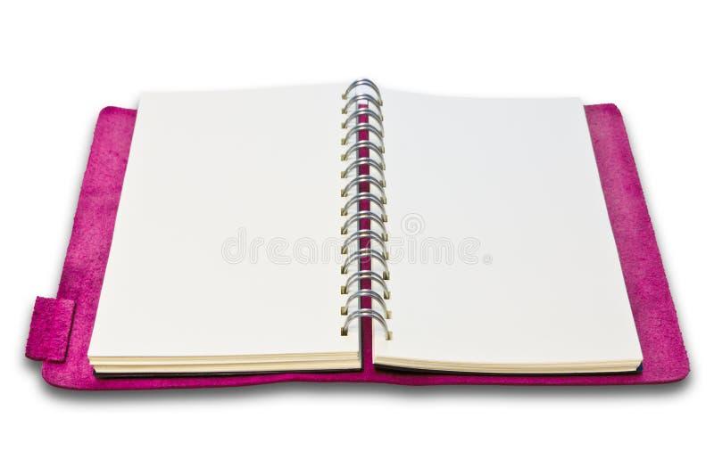Rosafarbenes ledernes Fallnotizbuch getrennt stockbild