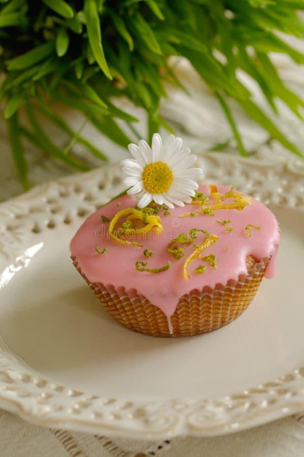 Rosafarbenes Muffin lizenzfreie stockbilder