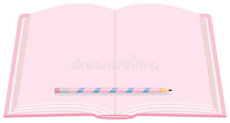 Rosafarbenes Tagebuch mit Bleistift stock abbildung