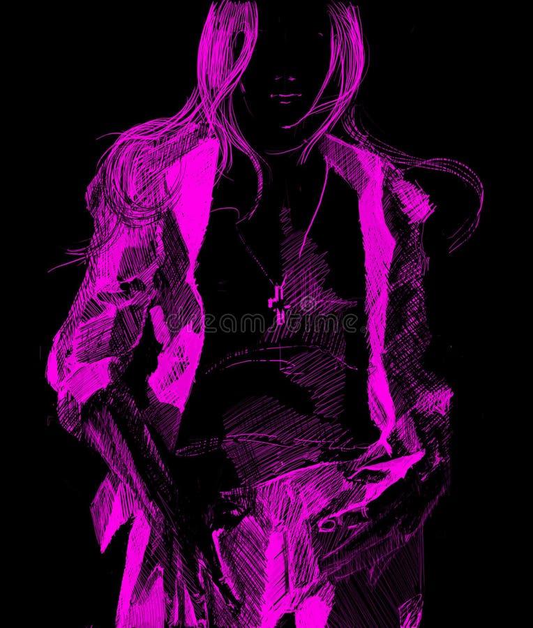 Rosafarbenes Traummädchen lizenzfreie abbildung