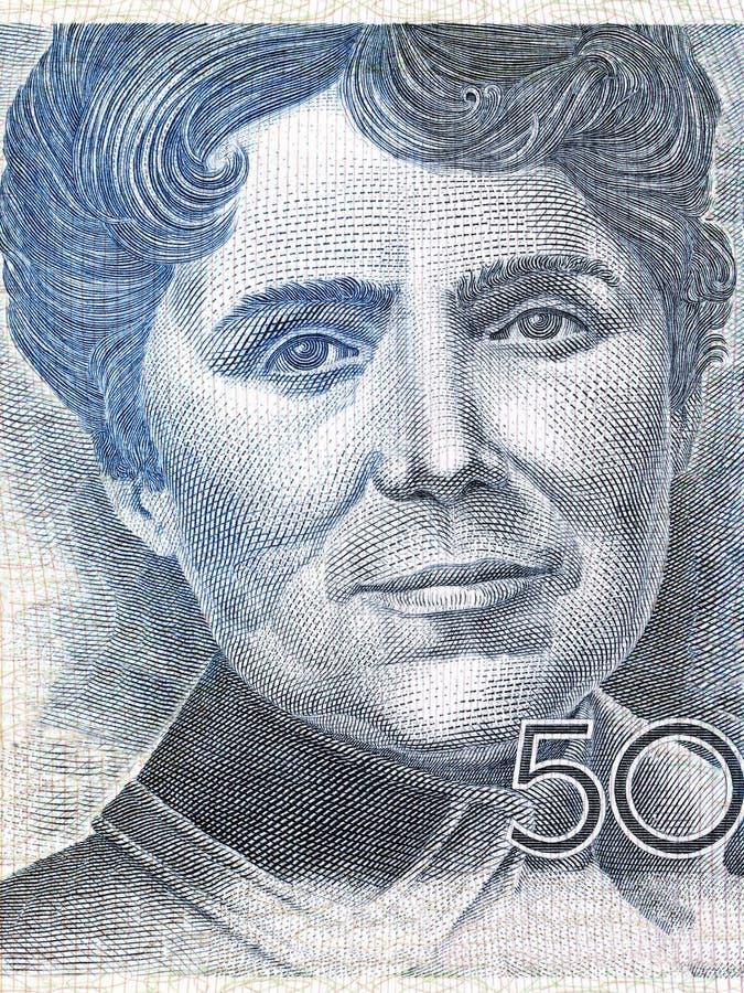 Rosalia de Castro portrait. From Spanish money royalty free stock image
