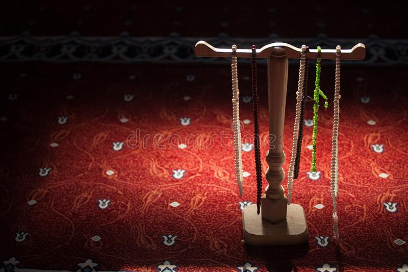 Rosaries in a mosque stock images