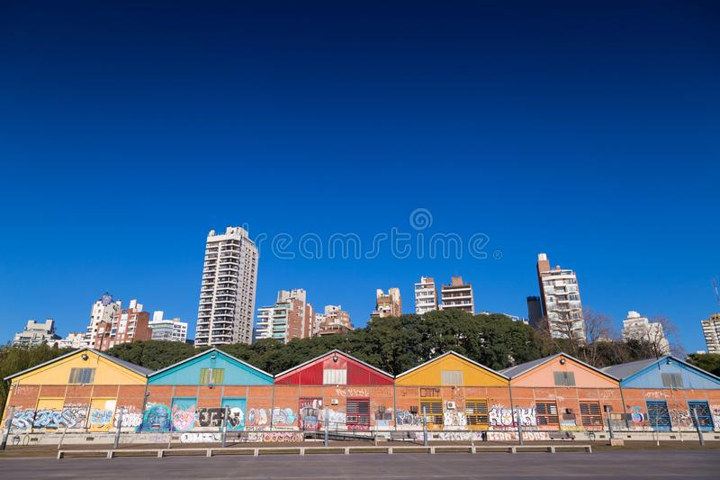 Rosario, Argentina. Coastal park next to the Parana River. ROSARIO, ARGENTINA - JULY 6, 2019: View of the colorful warehouses of the CEC. Placed in the coastal royalty free stock photography