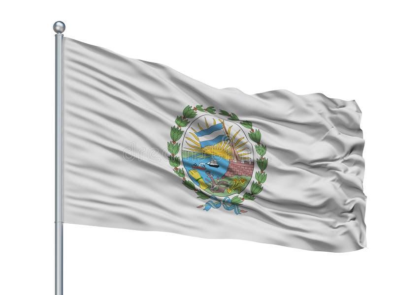 Rosario City Flag On Flagpole, la Argentina, aislada en el fondo blanco ilustración del vector