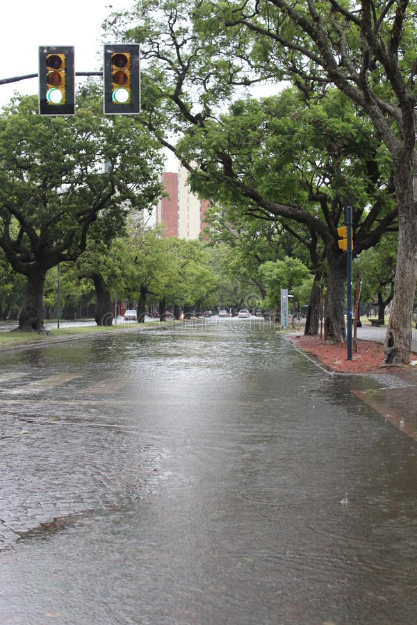Rosario floods. Green light on the riverside in Rosario, Santa Fe, Argentina. Floods take the streets on royalty free stock photography