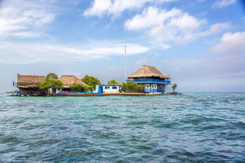 Rosario Islands. House in the Rosario Islands near Cartagena, Colombia stock image