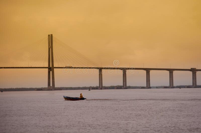 Rosario, Santa Fe. General view of Rosario - Victoria bridge and Parana River, Santa Fe Province, Argentina stock image