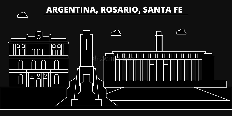 Rosario, Santa Fe, Schattenbildskyline Argentinien - Rosario, Santa Fe, Vektorstadt, argentinische lineare Architektur lizenzfreie abbildung