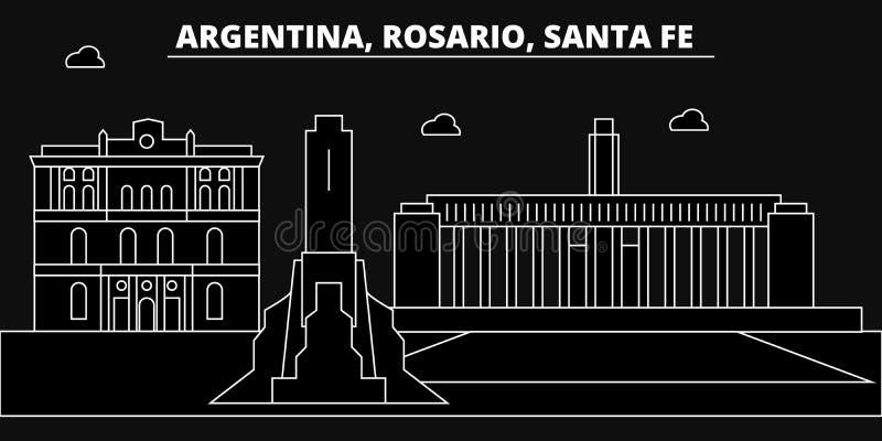 Rosario, Santa Fe, skyline da silhueta Argentina - Rosario, Santa Fe, cidade do vetor, arquitetura linear argentina ilustração royalty free