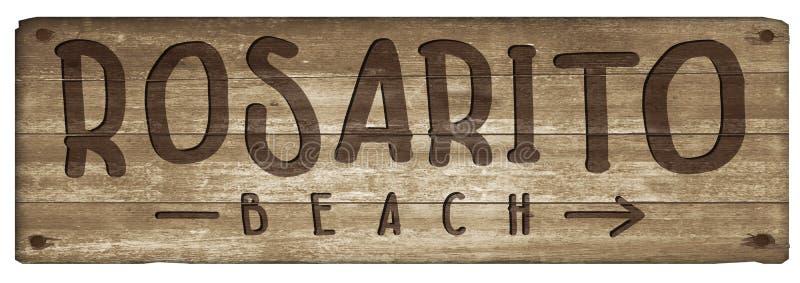 Rosarito Meksyk plaży znaka drewna rocznik zdjęcie royalty free