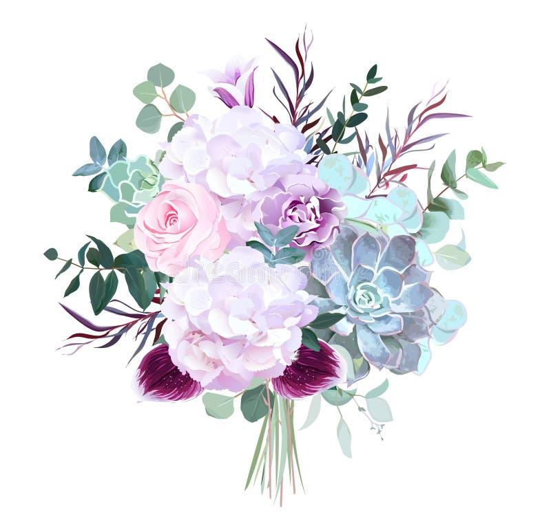 Rosarose, weiße Hortensie, purpurrote Gartennelke, dunkle Orchidee, succu stock abbildung
