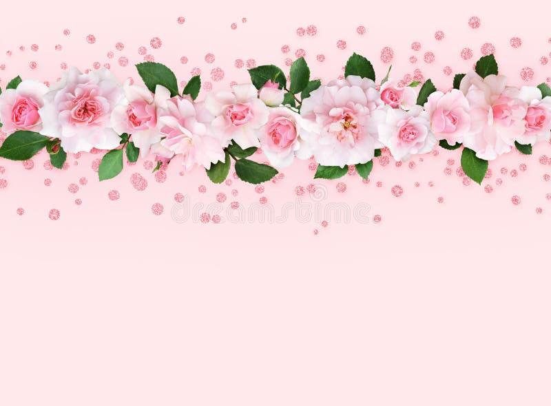 Rosarosenblumen und -blätter in einer Spitzengrenze mit Funkeln confet stock abbildung