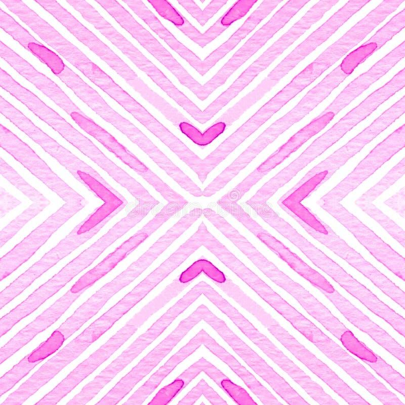 Rosarotes geometrisches Aquarell Empfindliches nahtloses Muster Hand gezeichnete Streifen Bürstenbeschaffenheit modern vektor abbildung