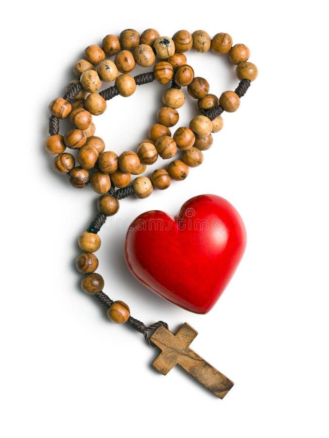 Rosary με την καρδιά της πέτρας στοκ εικόνα με δικαίωμα ελεύθερης χρήσης