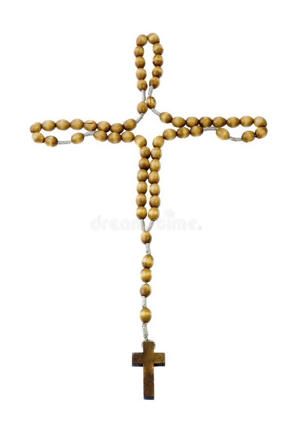 rosary изолированный крестом стоковые изображения rf