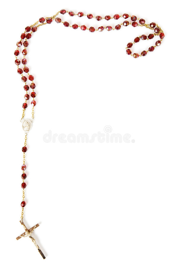 Rosary beads isolated on white. Rosary bead border isolated on white with space for text