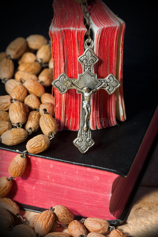Rosary Beads and Two Holy Bibles stock image