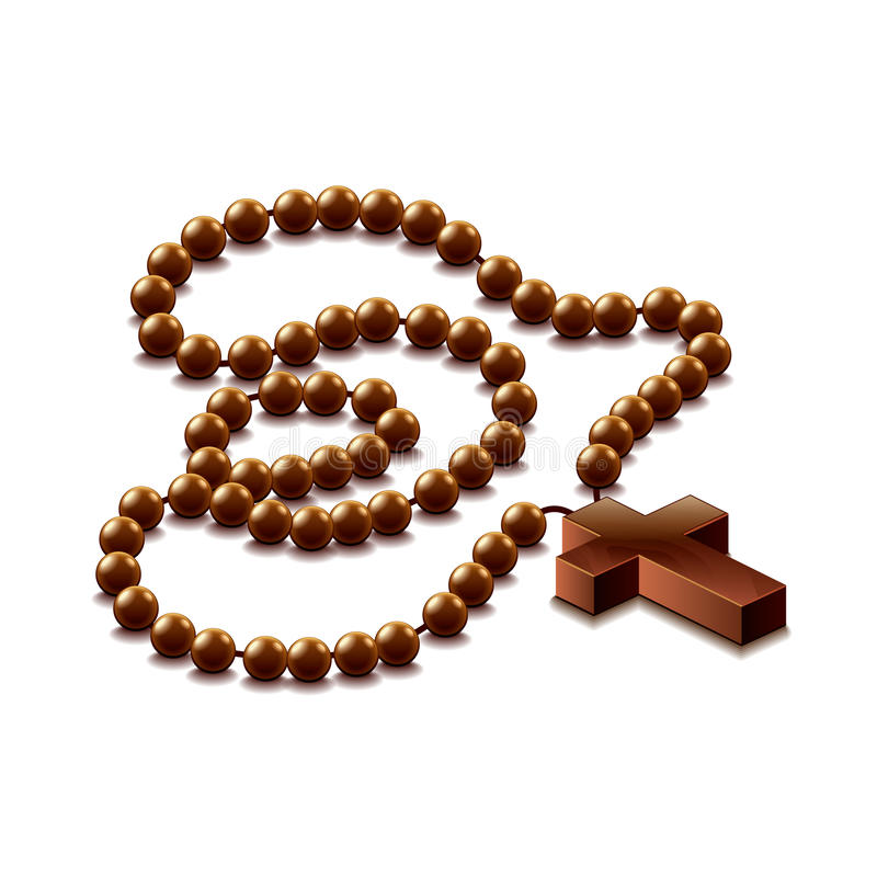 Rosary with cross isolated on white vector stock illustration