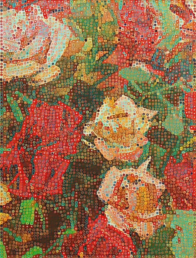 Rosas acrílicas estilizados na lona textured ilustração stock