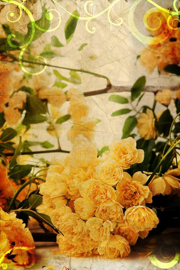 Rosas amarillas de la vendimia imágenes de archivo libres de regalías
