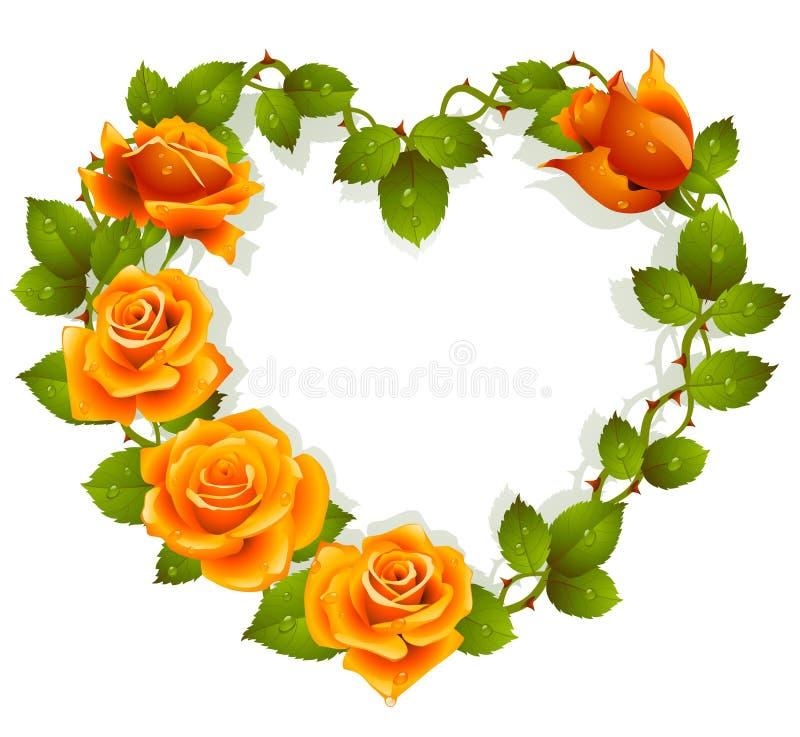 Rosas anaranjadas en la dimensión de una variable del corazón ilustración del vector