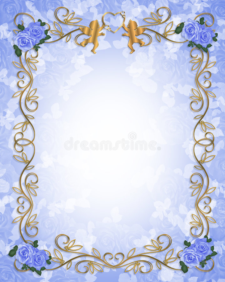 Rosas azuis 3D do convite do casamento ilustração royalty free