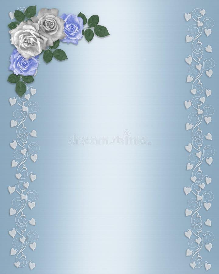Rosas azules y blancas de la frontera floral Wedding libre illustration