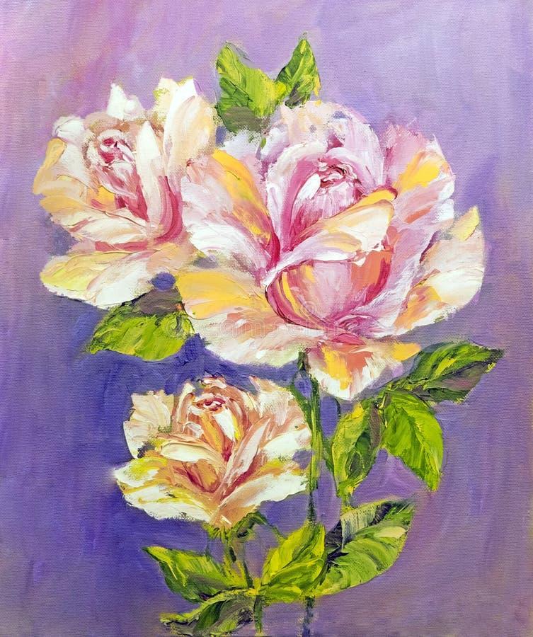 Rosas bonitas, pintura a óleo ilustração do vetor