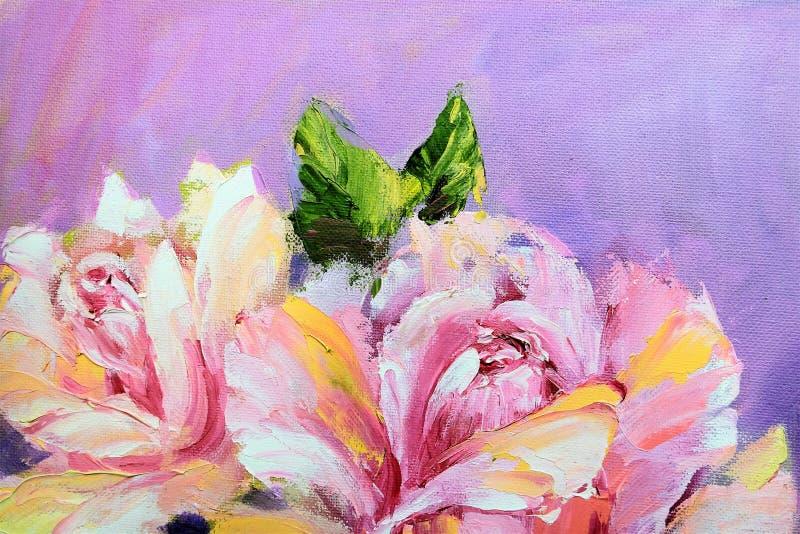 Rosas bonitas, pintura a óleo ilustração stock