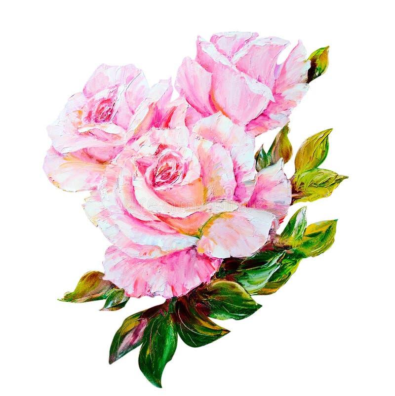 Rosas bonitas, pintura a óleo na lona ilustração royalty free