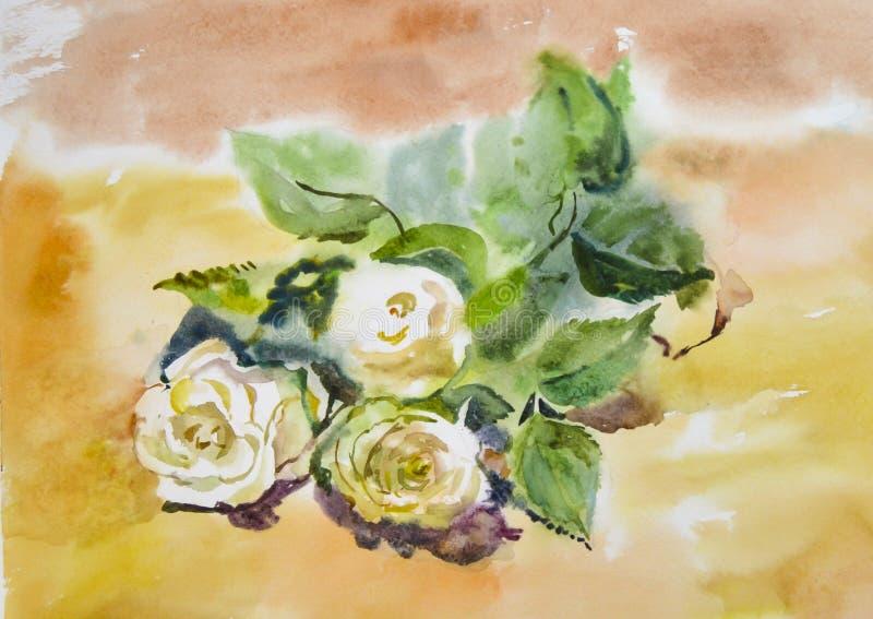 Rosas brancas bonitas brilhantes pintadas com aquarela fotografia de stock