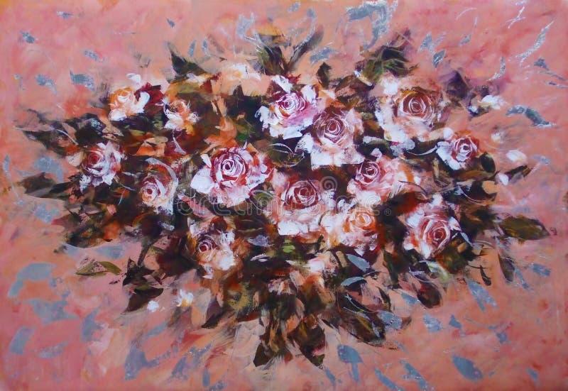Rosas brancas, pintura feito a mão ilustração do vetor