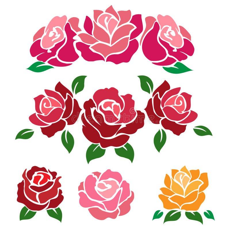 Rosas coloridas aisladas en el fondo blanco ilustración del vector