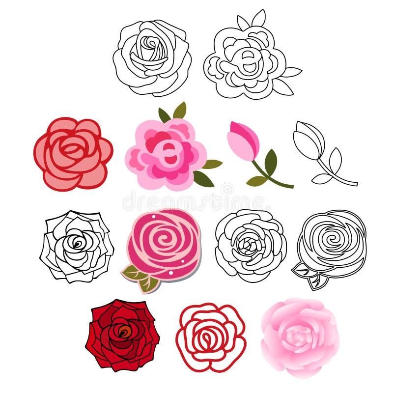 Rosas com as folhas ajustadas ilustração royalty free