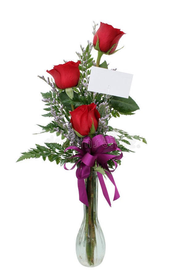 Rosas com cartão do presente (imagem 8.2mp) imagens de stock royalty free
