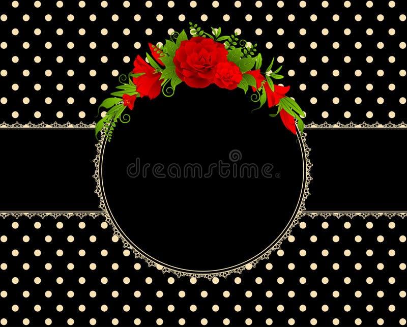Rosas com ornamento do laço ilustração do vetor
