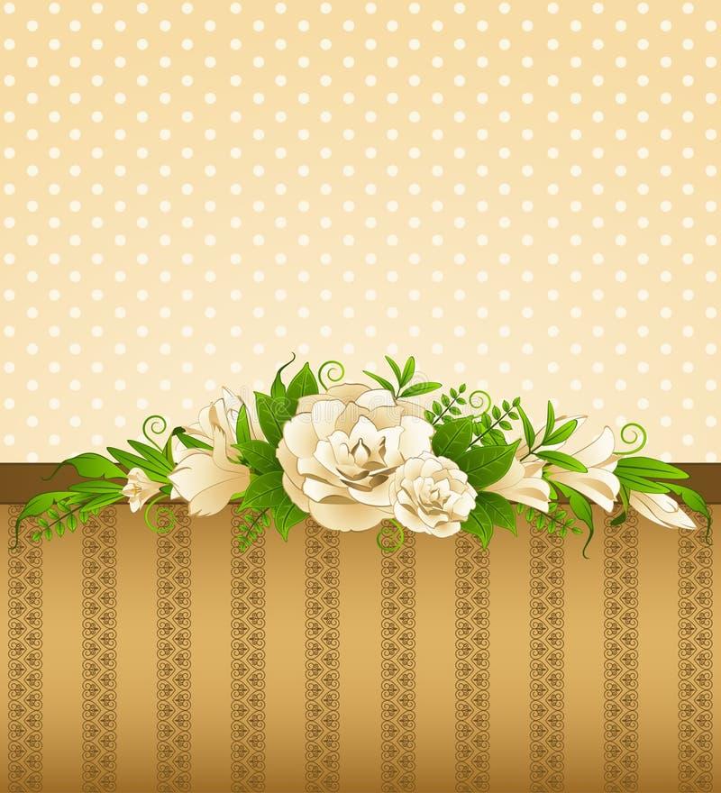 Rosas com ornamento do laço ilustração royalty free