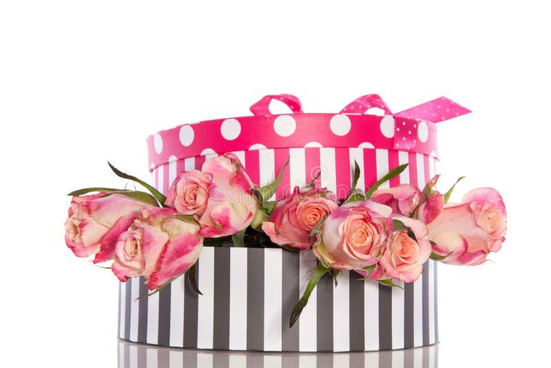Rosas cor-de-rosa entre giftboxes imagem de stock royalty free