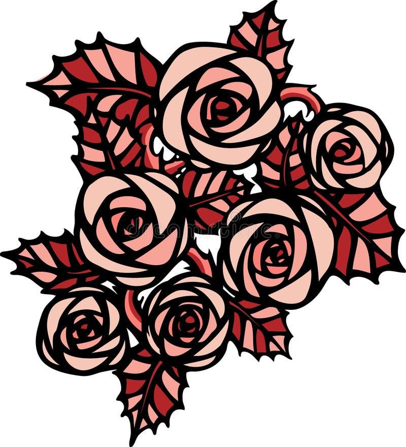 Rosas cor-de-rosa no estilo da tatuagem ilustração stock