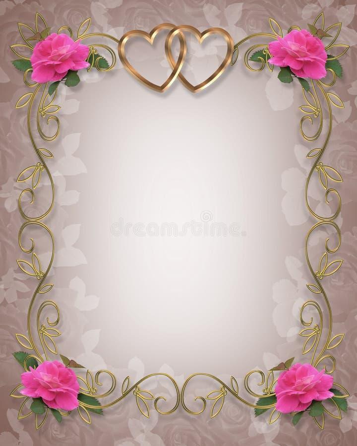 Rosas cor-de-rosa que Wedding a beira ilustração stock