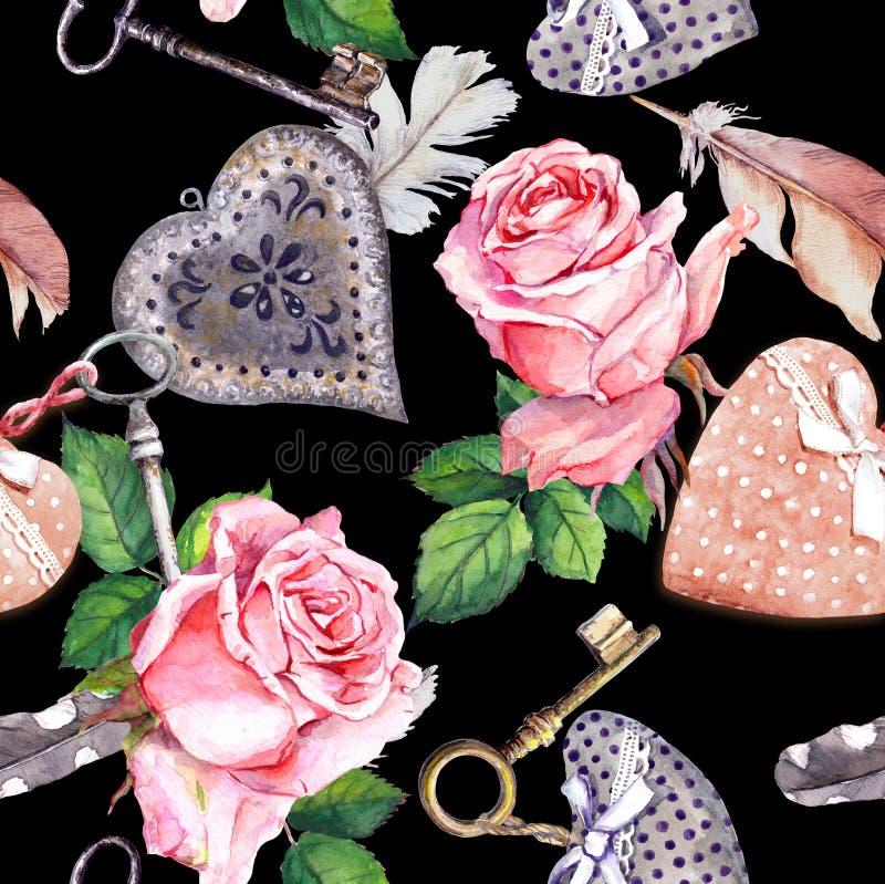 Rosas, corações, penas e chaves cor-de-rosa no fundo preto Teste padr?o sem emenda Cor de ?gua ilustração do vetor