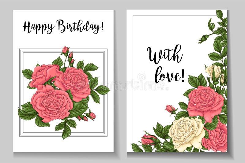 Rosas coralinas de la postal Ejemplo del vector del dibujo de la mano stock de ilustración