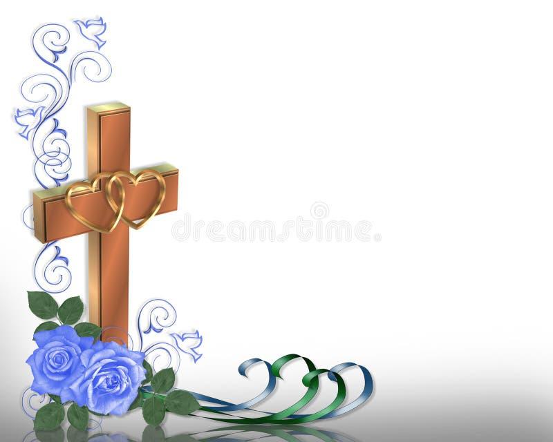 Rosas cristianas del azul de la invitación de la boda libre illustration