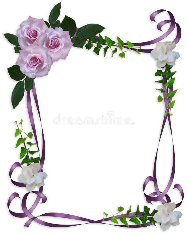 Rosas da alfazema da beira do convite do casamento ilustração stock